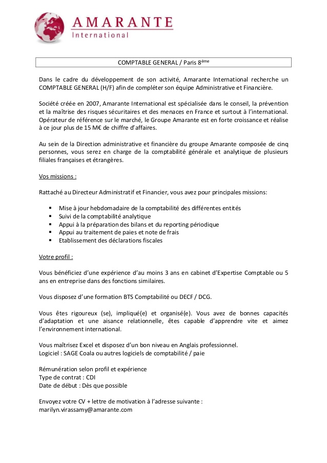 emploi comptable france